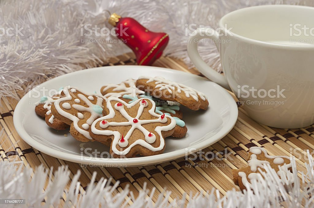 Decorated Sugar Cookies and Milk for Santa royalty-free stock photo