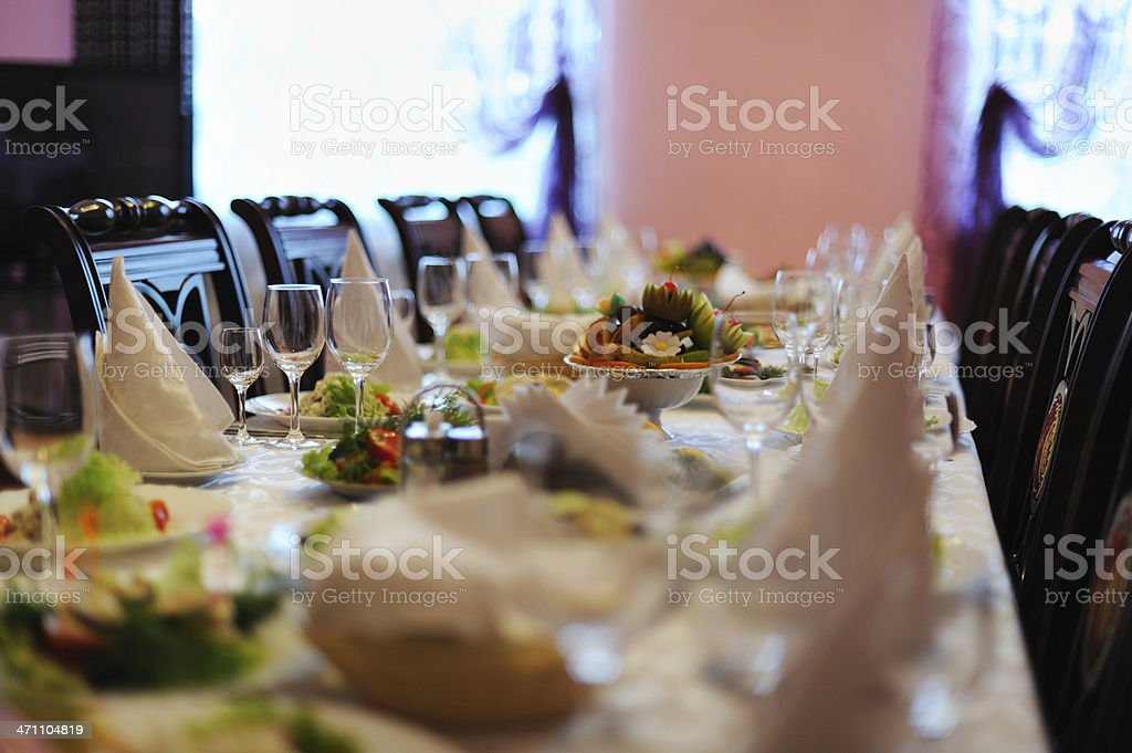 Decorated table in restaurant stock photo