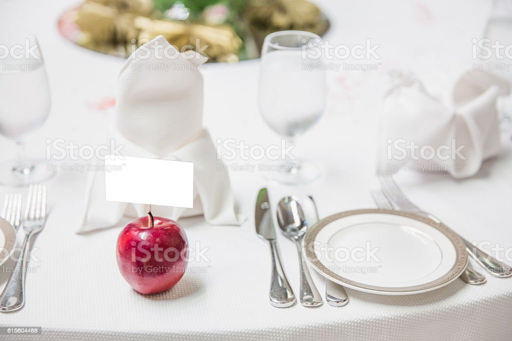 Decorated table setting stock photo