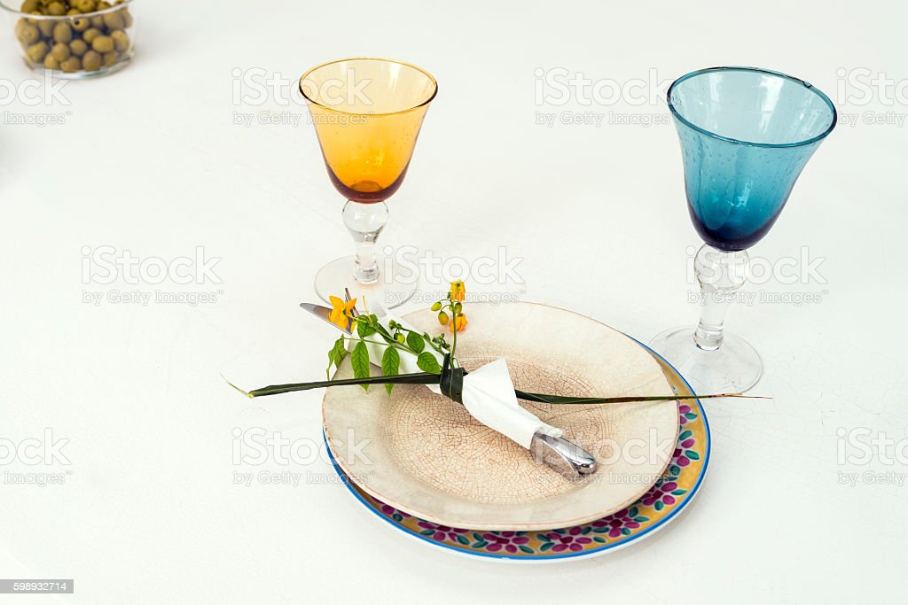 decorated table to eat stock photo