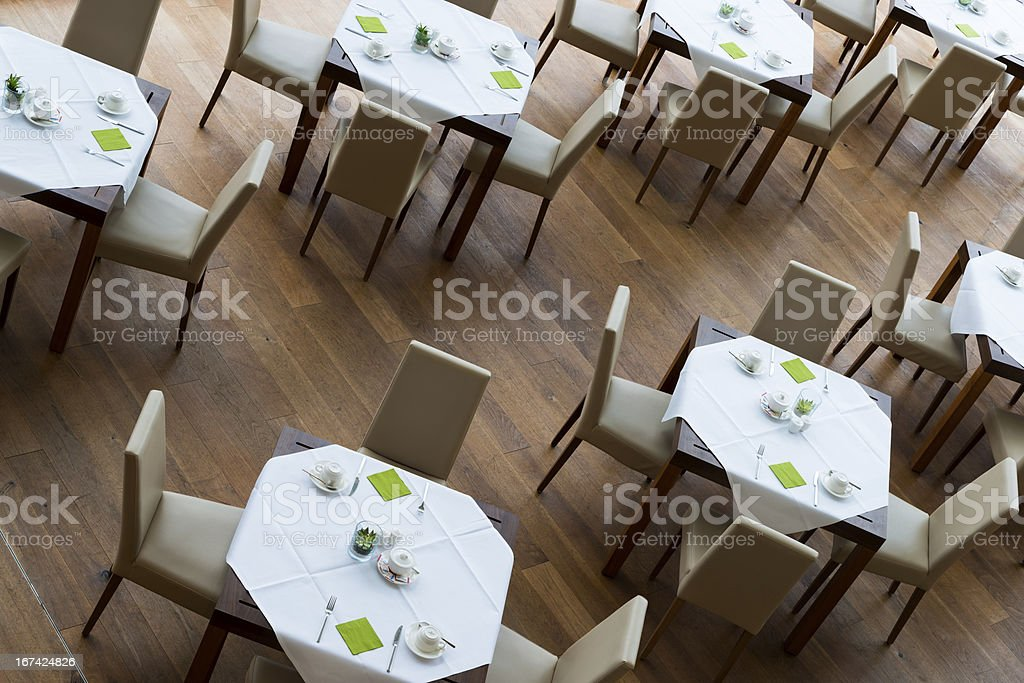 decorated tables and leather chairs royalty-free stock photo