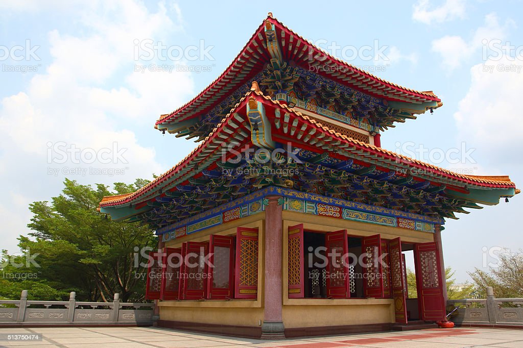 Decorated Tower of Chinese temple stock photo