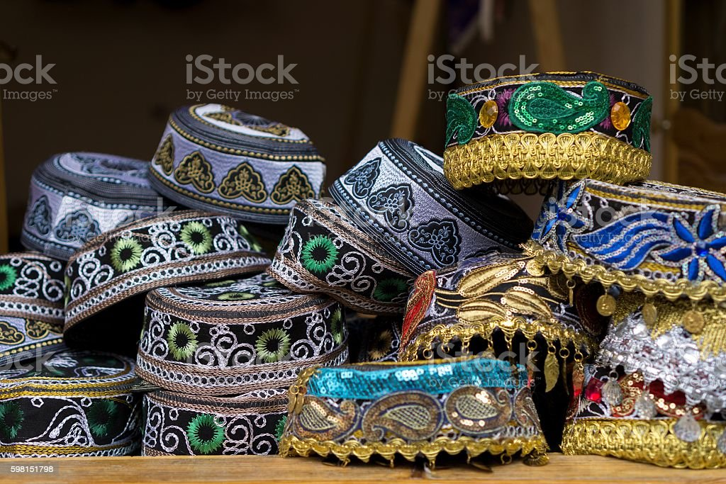 Decorated traditional hand-made hats in the village Lahic, Azerbaijan stock photo