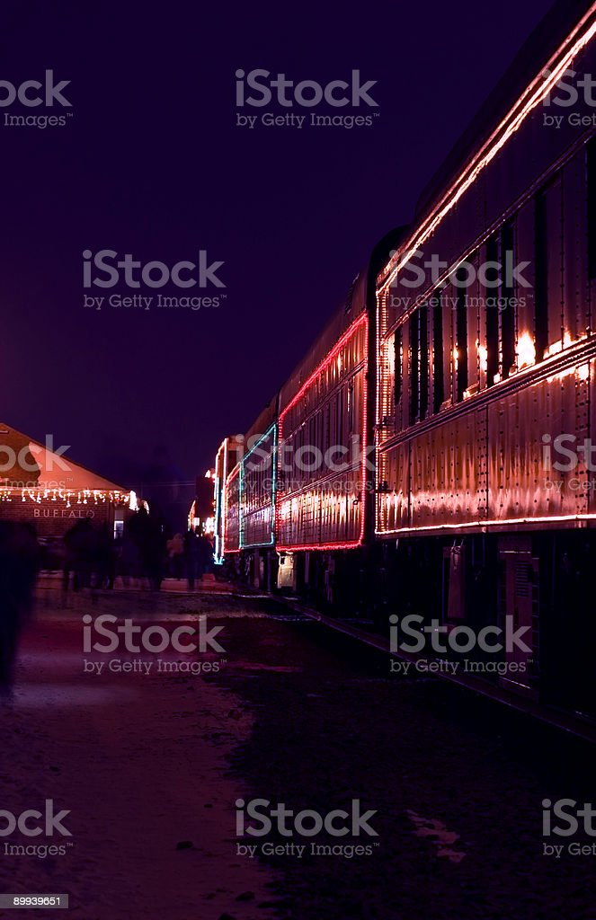 Decorated Train Cars and Station royalty-free stock photo