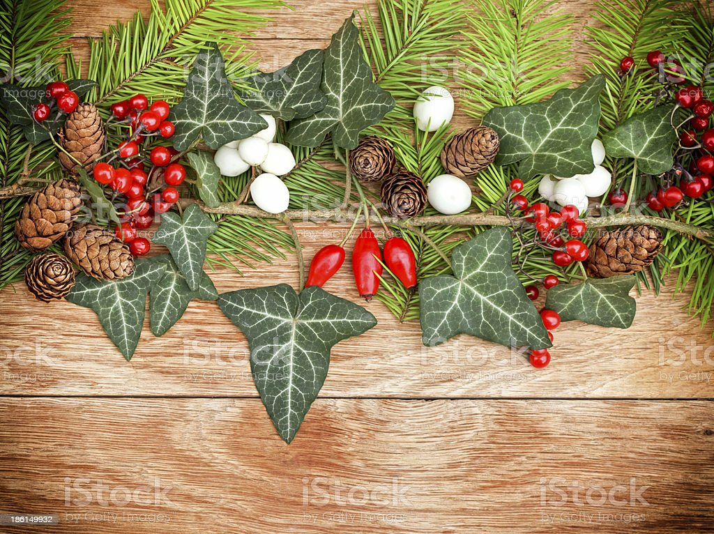 Decorated twig of Christmas tree royalty-free stock photo
