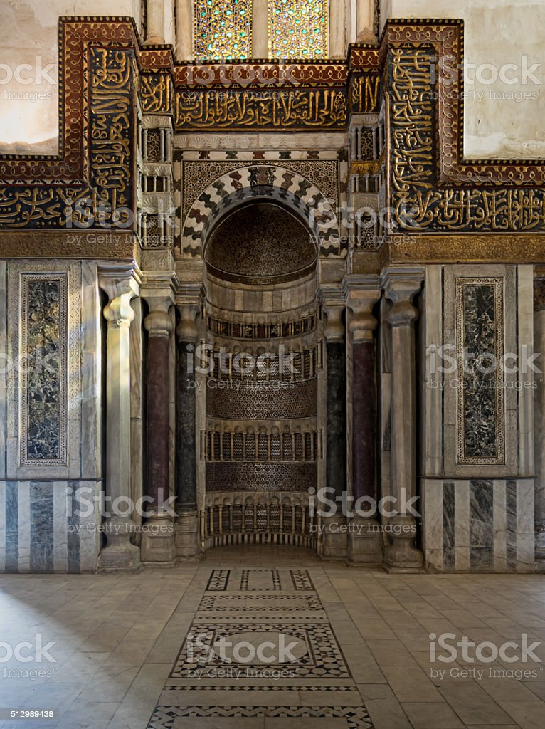 Decorated wall with ornate sculpted niche stock photo