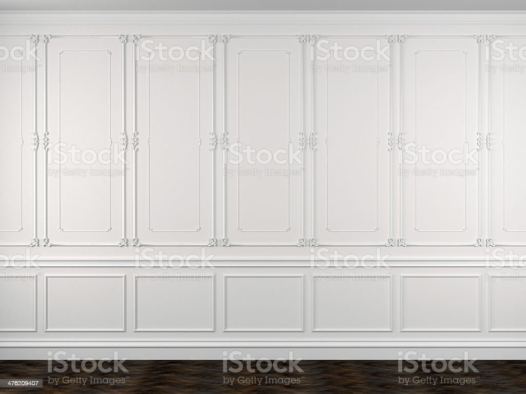 Decorated white walls and a dark floor stock photo