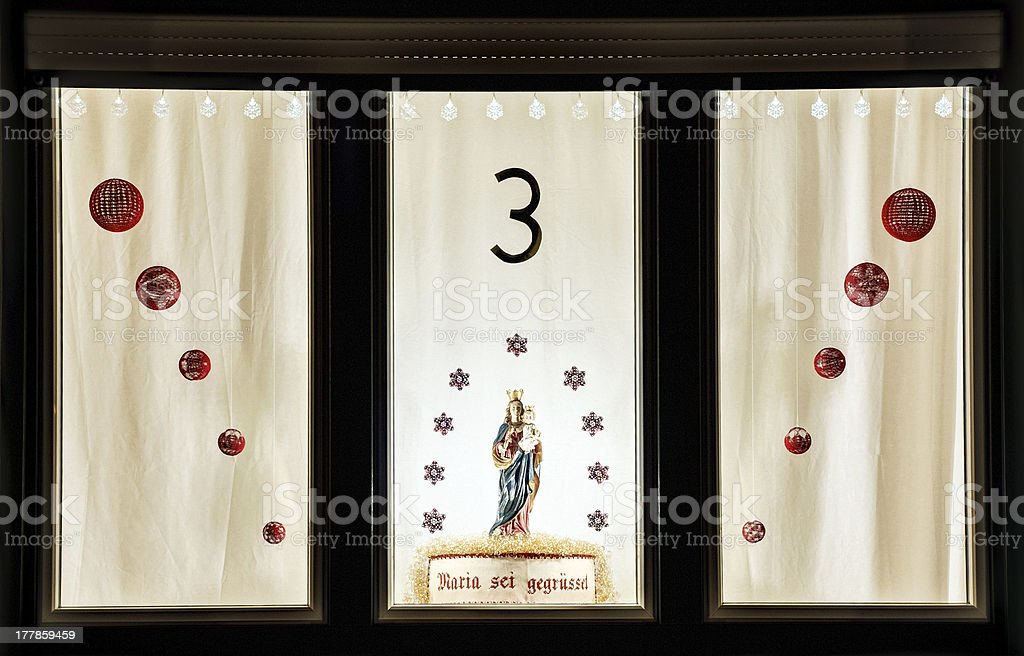 decorated window in Advent royalty-free stock photo