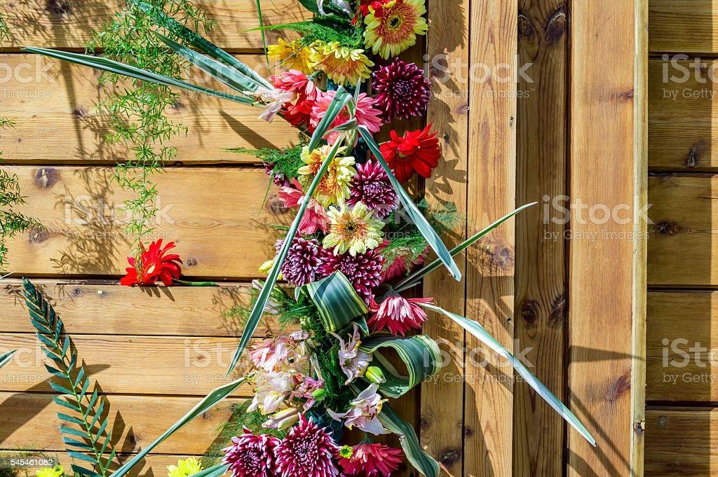 Decorated wood door stock photo