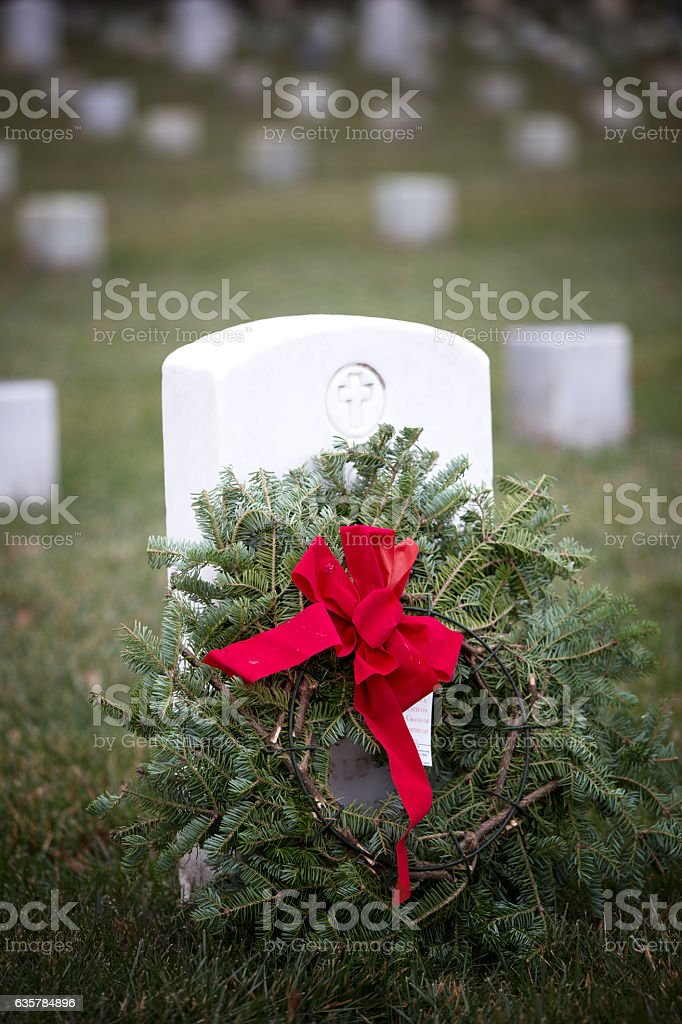 Decorated wreath at Arlington National cemetery stock photo