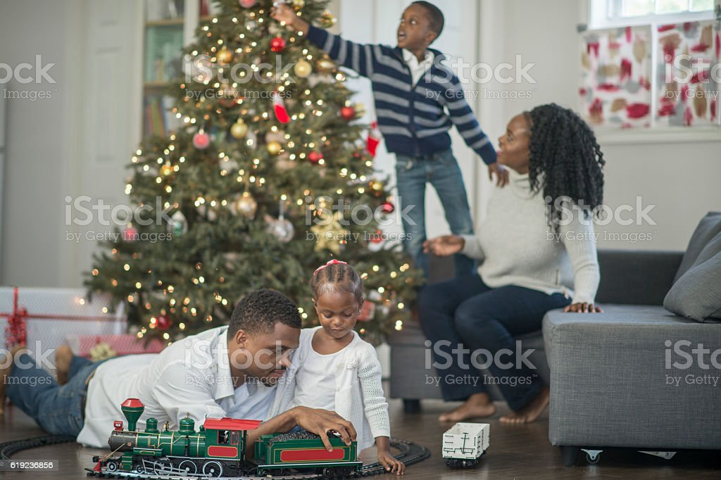 Decorating a Christmas Train stock photo