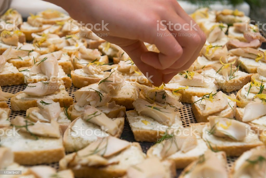 decorating cannape for buffet stock photo