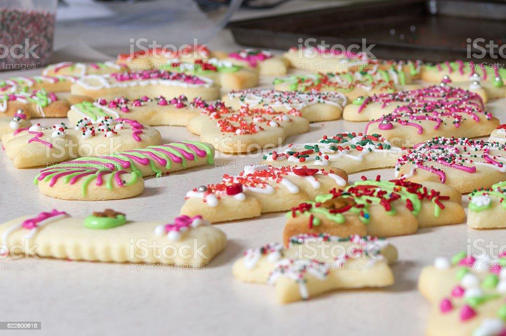 Decorating Chirstmas Cookies stock photo
