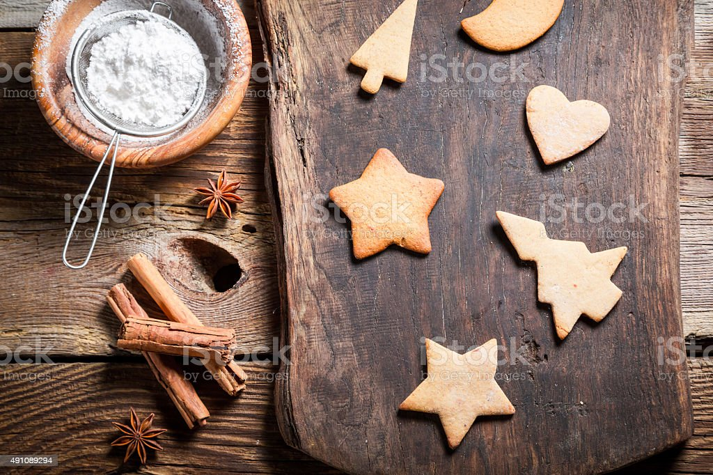 Decorating cookies for Christmas stock photo