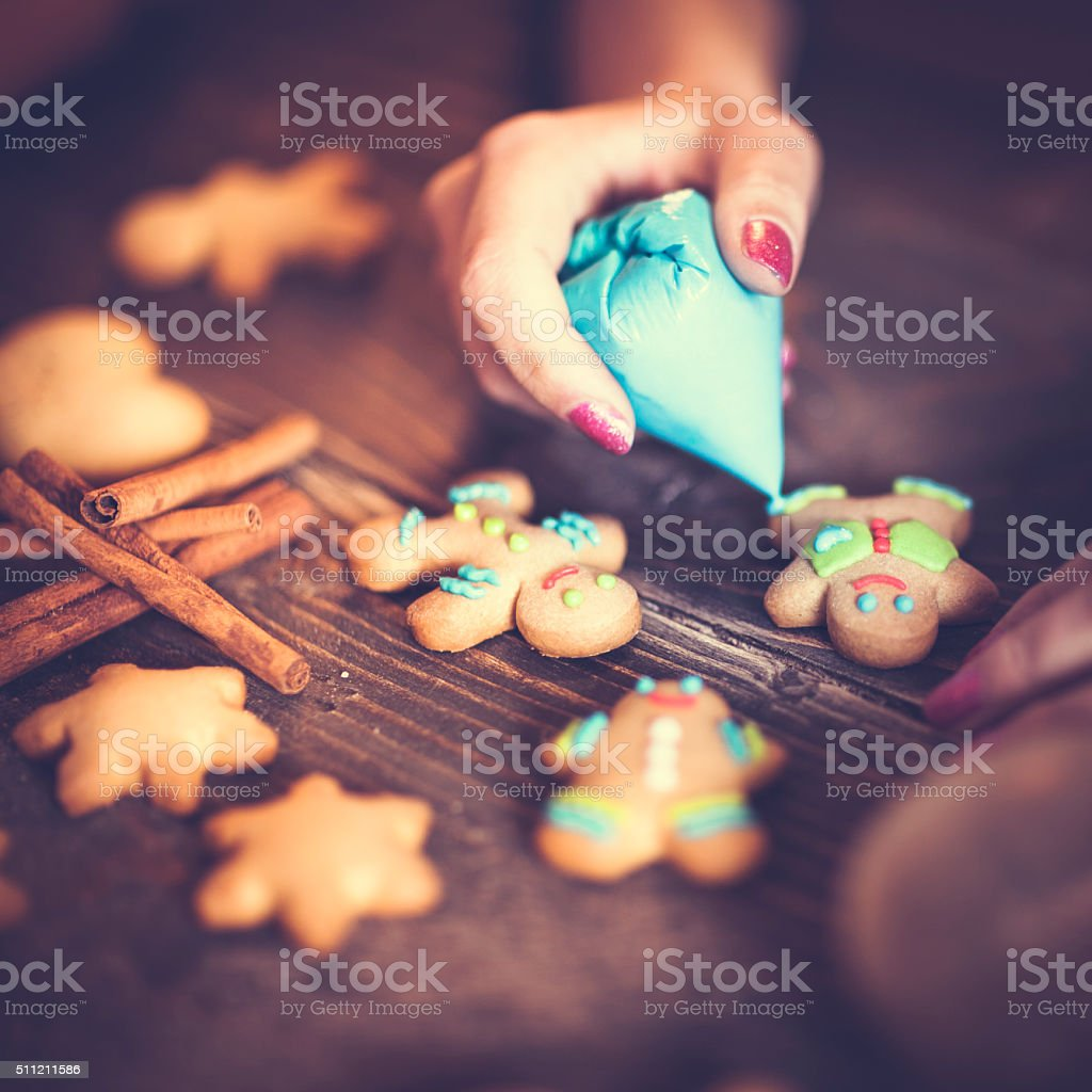 Decorating cookies stock photo