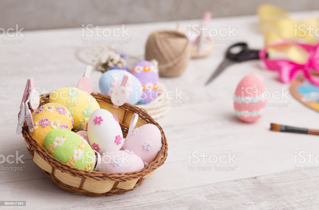Decorating Easter eggs stock photo