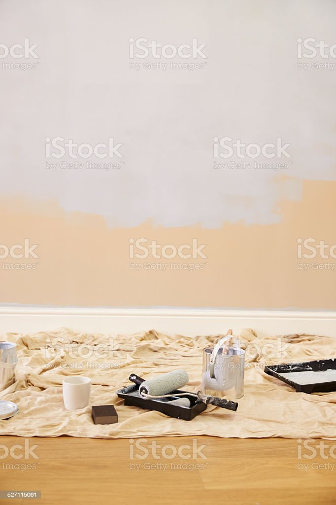 Decorating Equipment In Empty Room stock photo