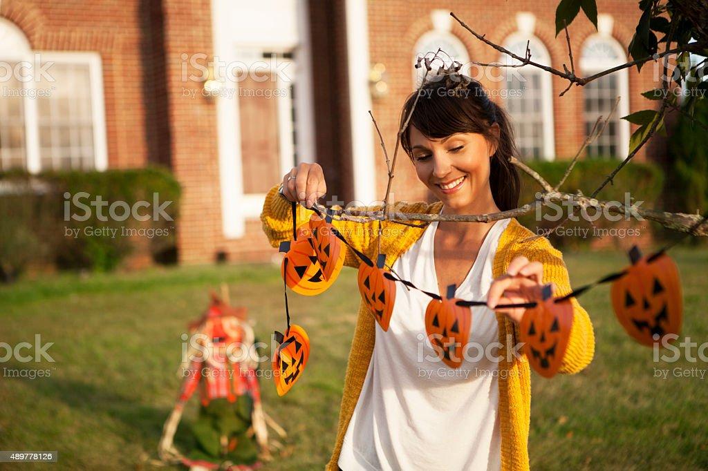 Decorating for Halloween stock photo