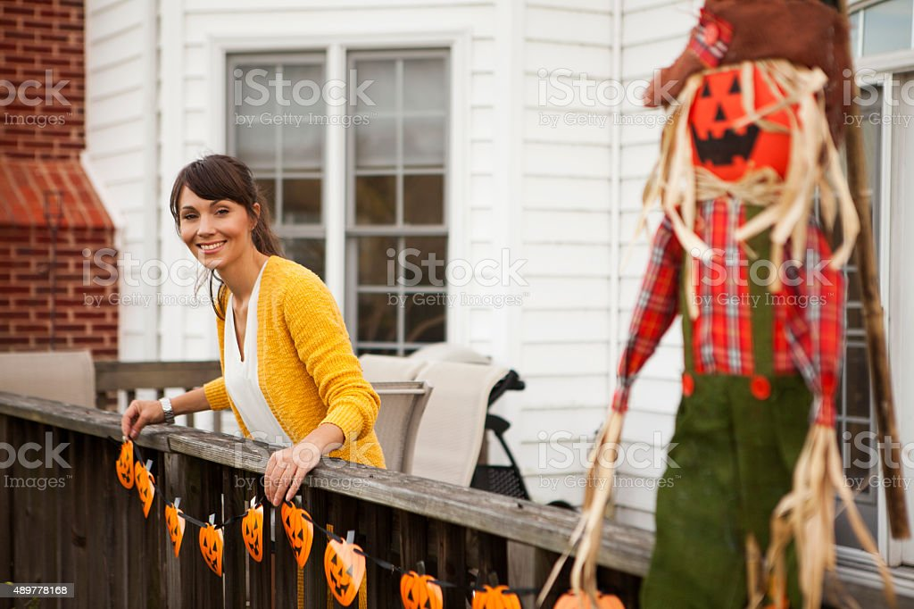 Decorating for Halloween stock photo