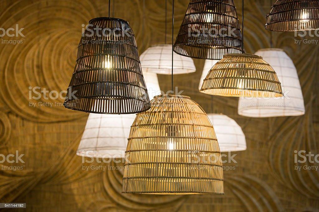 Decorating hanging lantern lamps stock photo