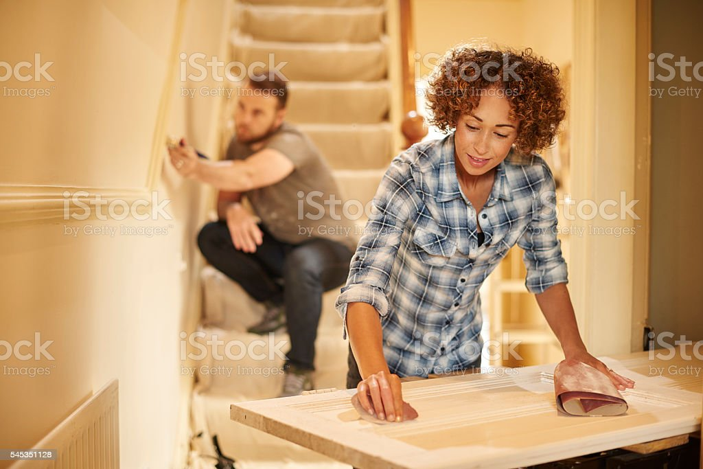 decorating our home stock photo