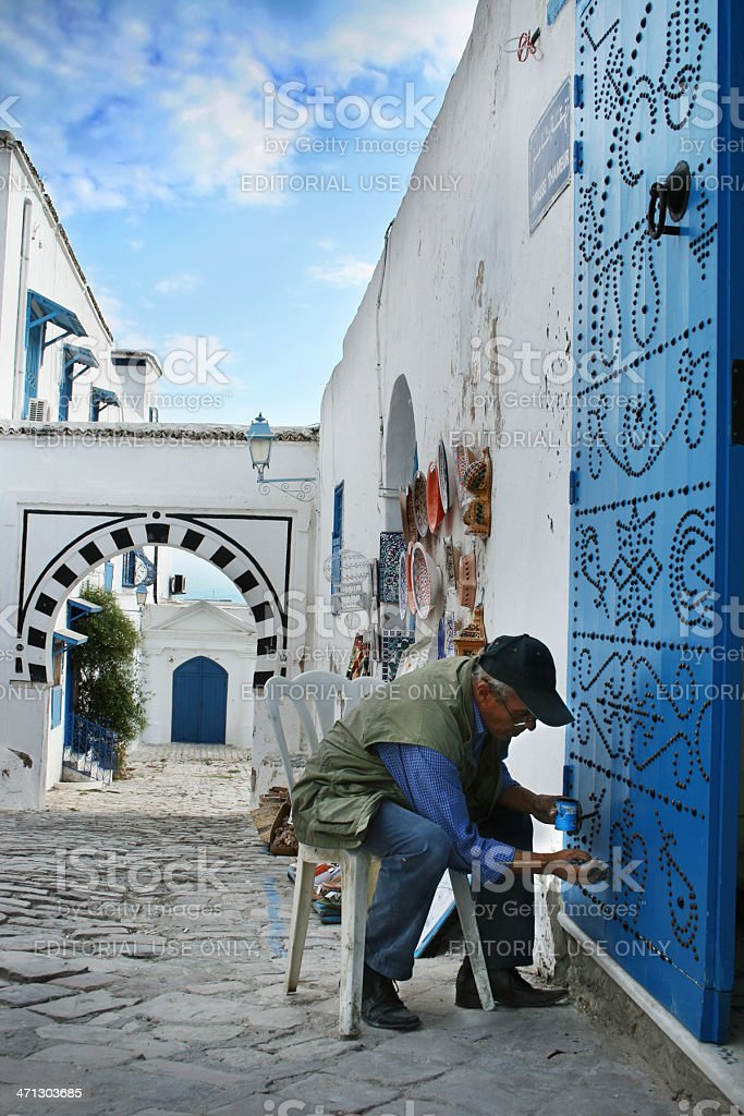 Decorating Sidi Bou Said door stock photo