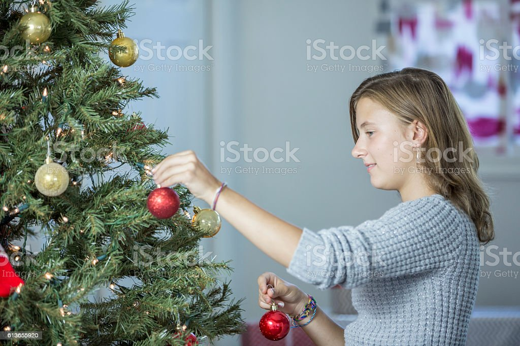 Decorating the Christmas Tree stock photo