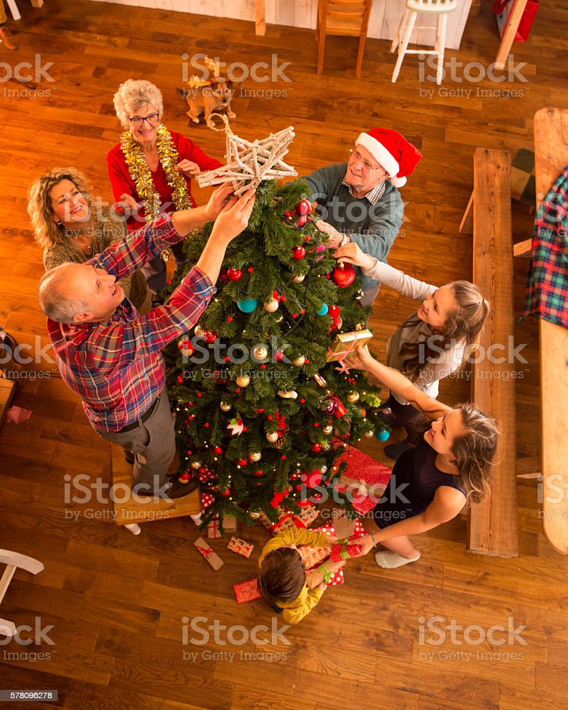 Decorating The Tree stock photo