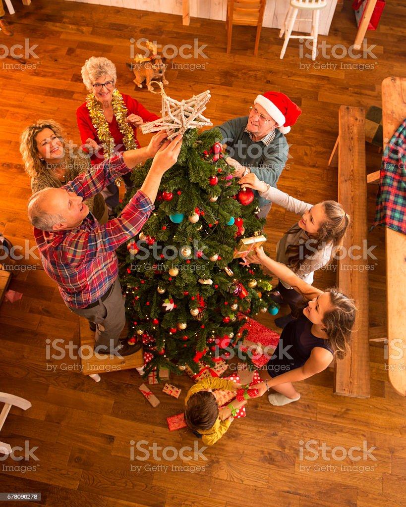 Decorating The Tree stock photo
