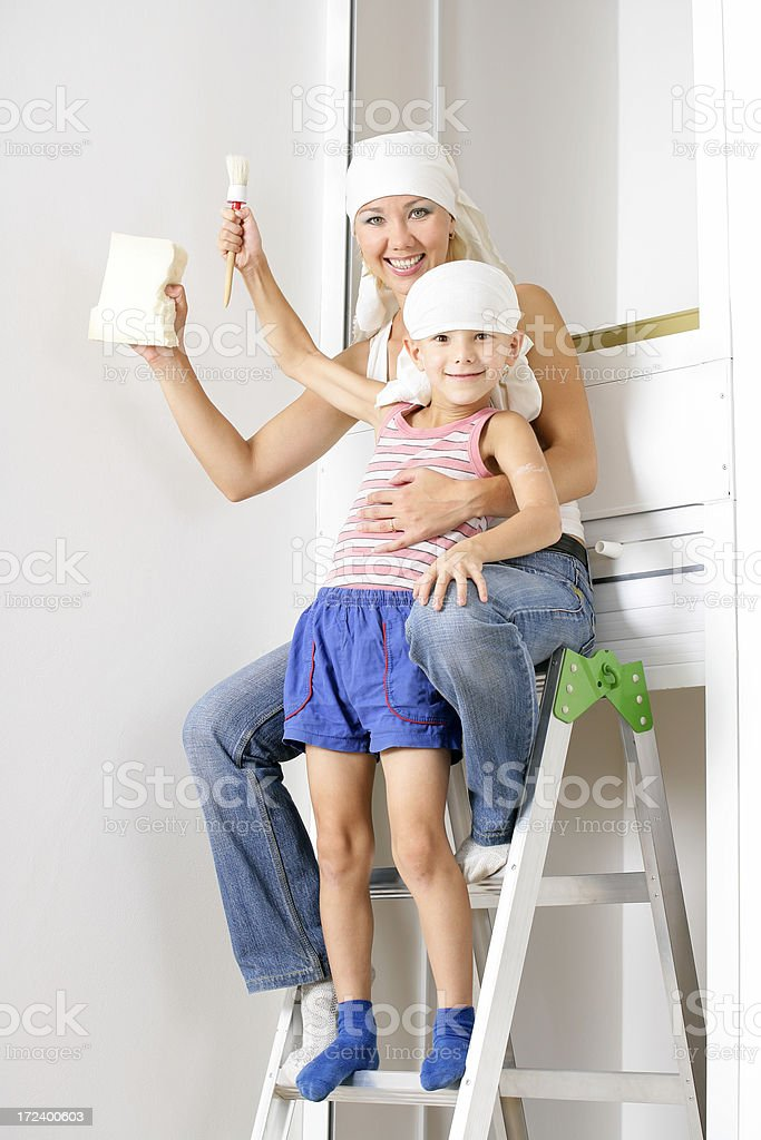 Decorating together royalty-free stock photo