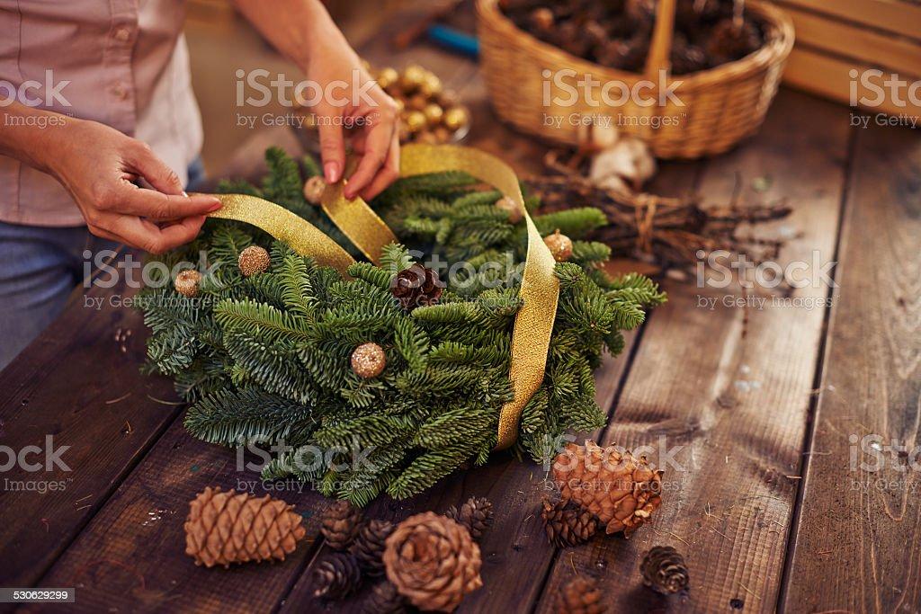 Decorating with ribbon stock photo