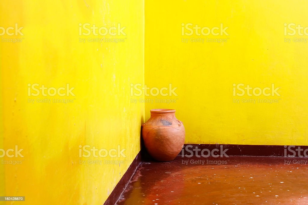 Decoration detail of a yellow room royalty-free stock photo