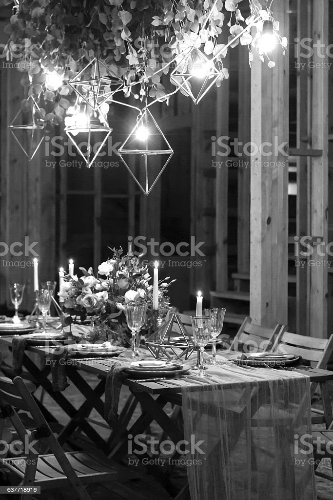 Decoration festive table before a banquet. Black and white. stock photo