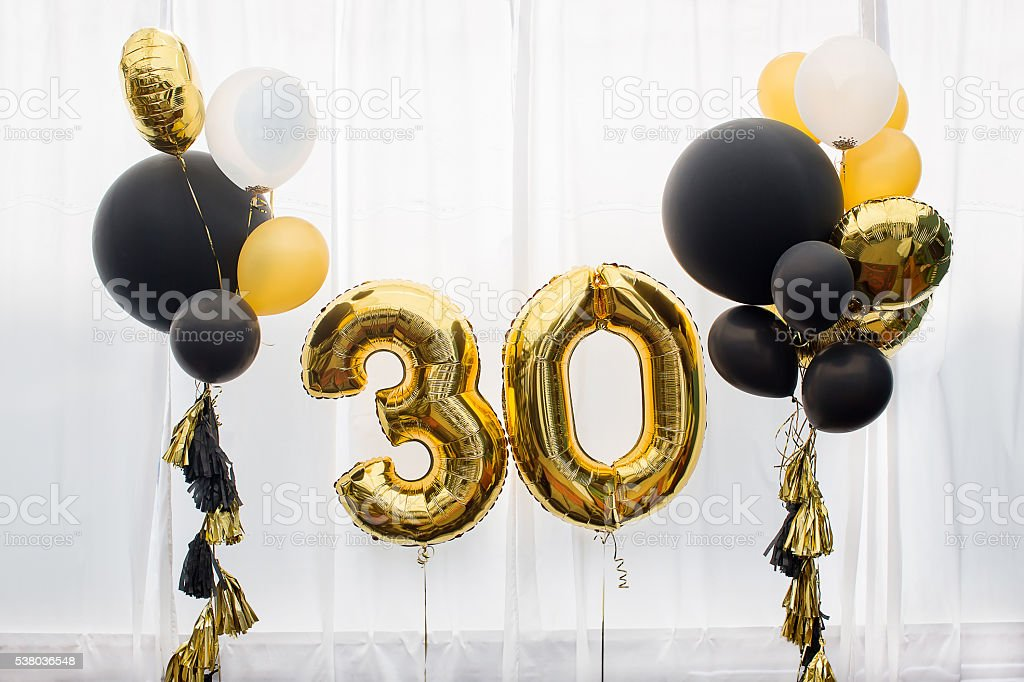 Decoration for 30 years birthday, anniversary stock photo