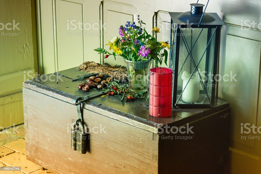 decoration for autumn on an old chest stock photo
