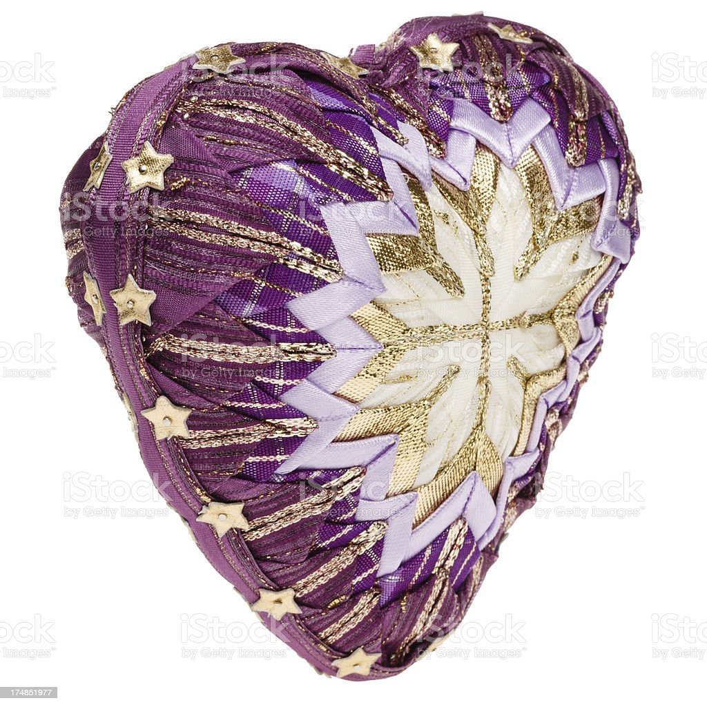 Decoration heart (patchwork) - side view stock photo