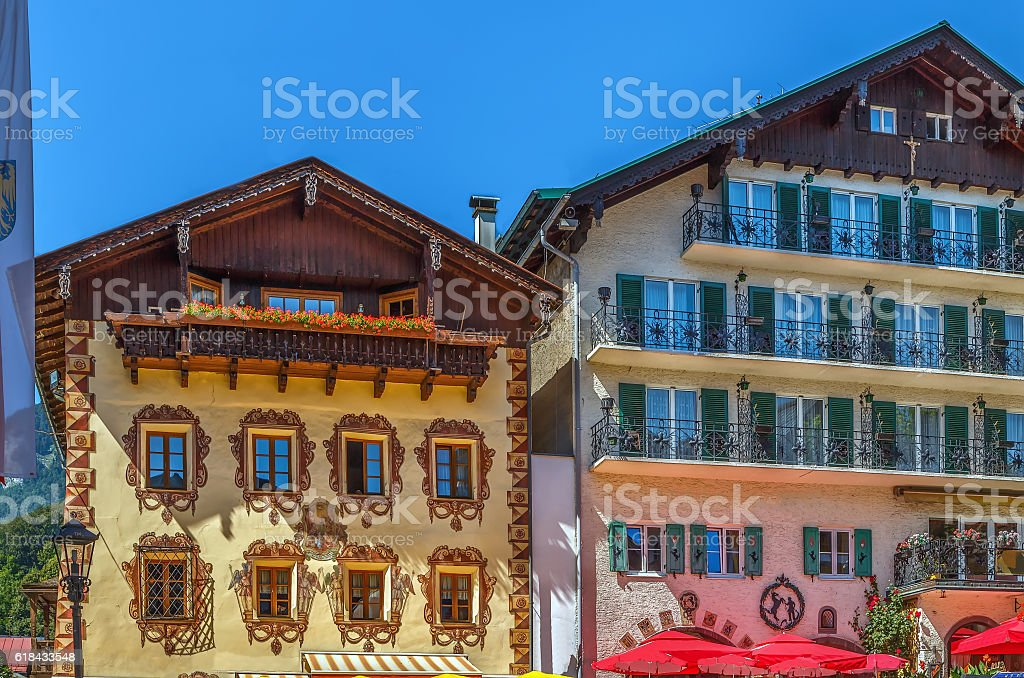 Decoration houses in st. Wolfgang, Austria stock photo