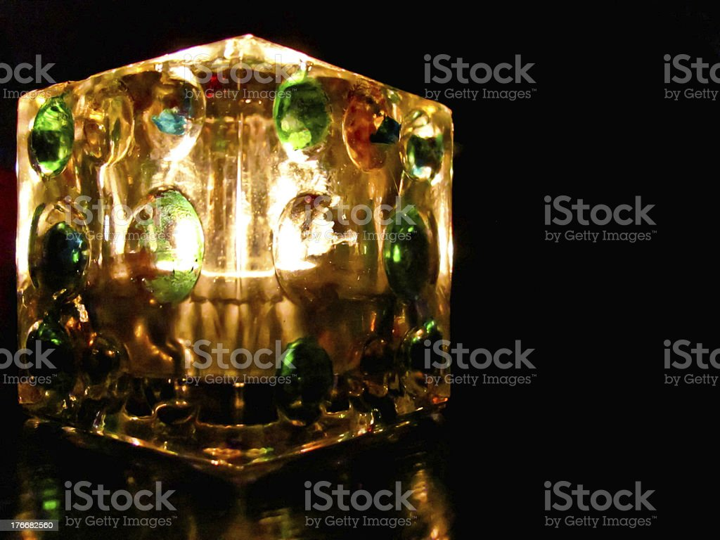 Decoration light cube with a candle inside it royalty-free stock photo