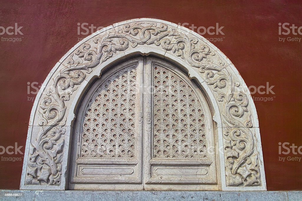 Decoration matble window of a traditional Chinese temple royalty-free stock photo