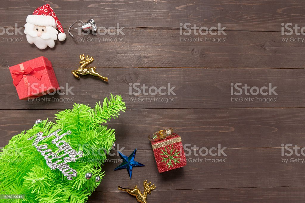 Decoration of Christmas day and tree are on wooden background stock photo