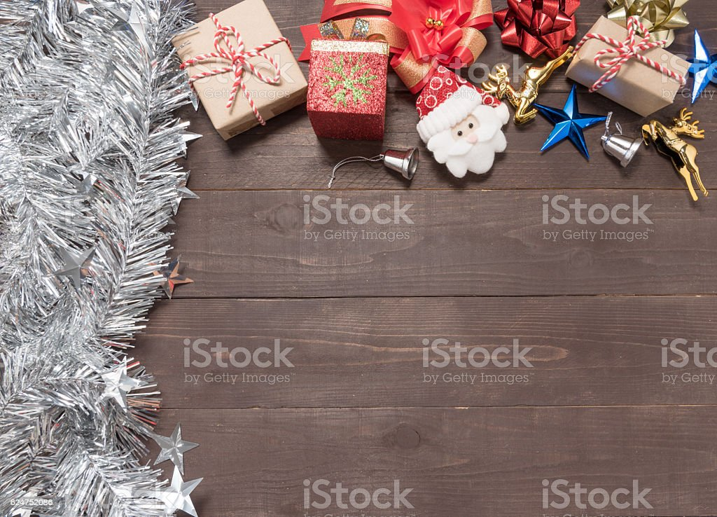 Decoration of Christmas day on the wooden background. stock photo
