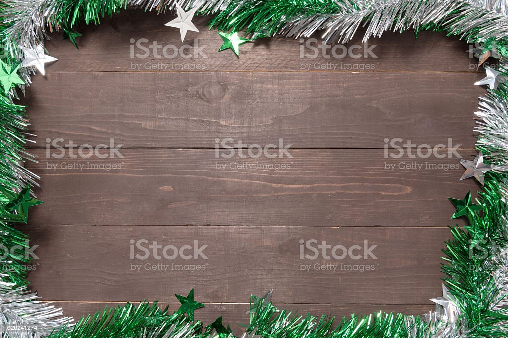 Decoration of Christmas day on the wooden background with empty stock photo