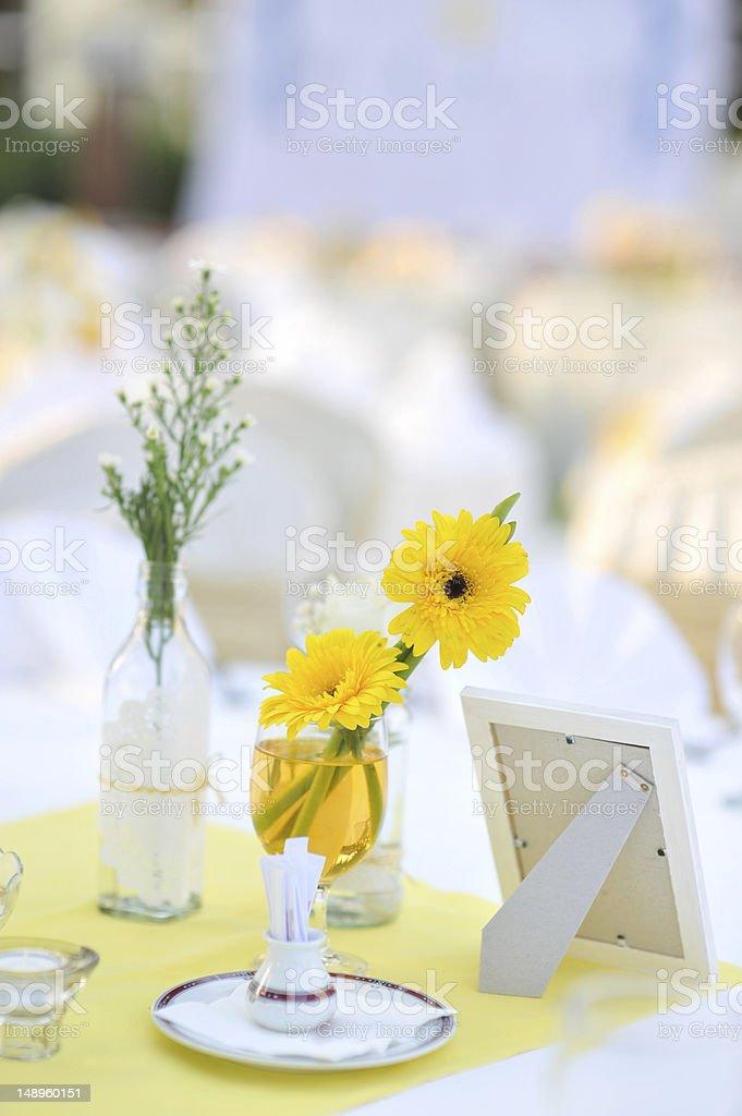 Decoration of garden wedding table. royalty-free stock photo