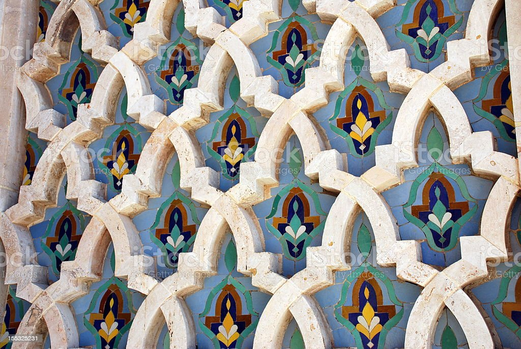 Decoration of Hassan II Mosque in Casablanca, Morocco royalty-free stock photo