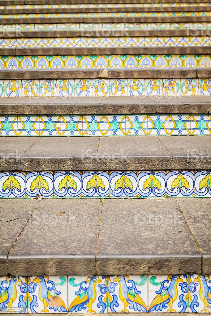 decoration of steps at Caltagirone stock photo
