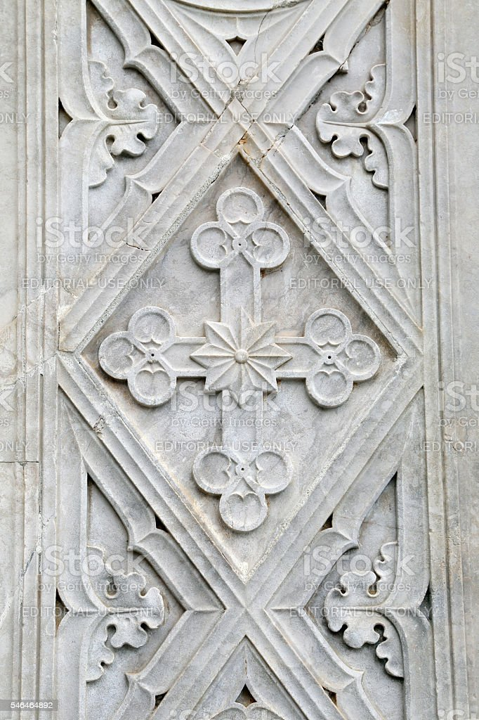 Decoration of the neo-gothic portal of the St. Francis Cathedral - Gaeta stock photo