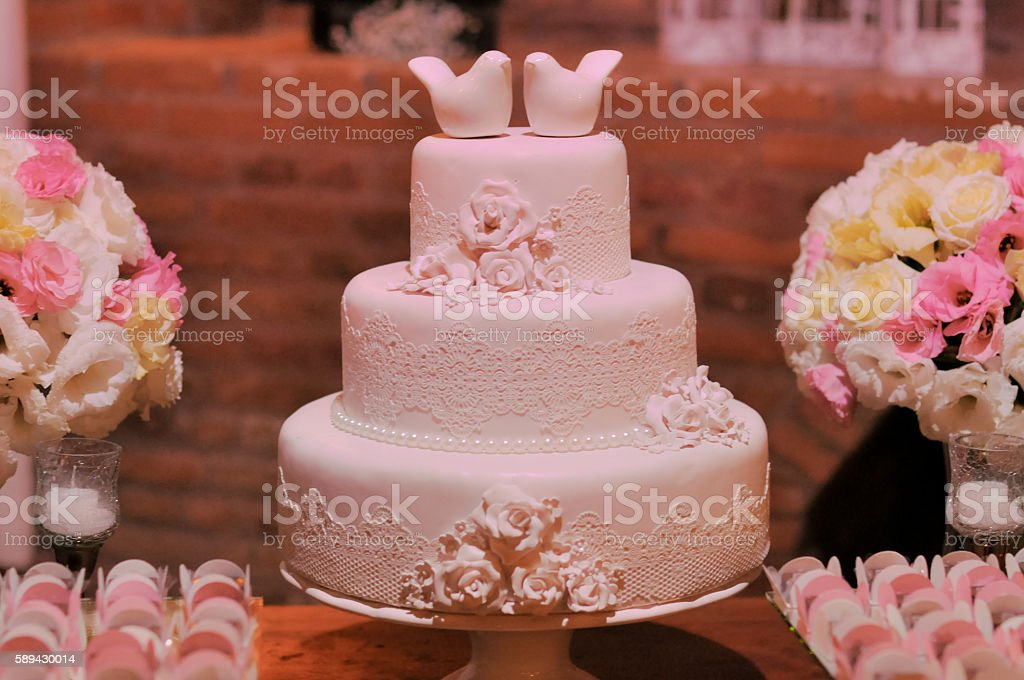 decoration of the wedding cake table stock photo