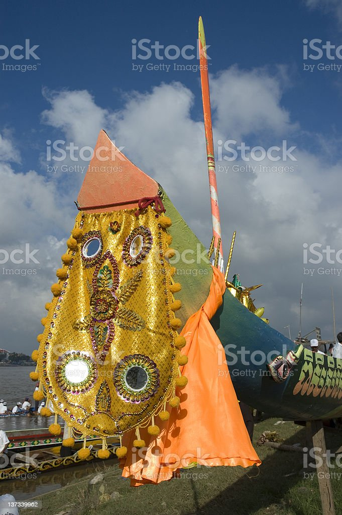 Decoration on Cambodian Boat stock photo