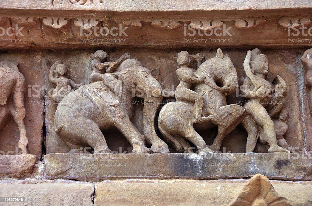 Decoration on Lakshmana Temple walls stock photo
