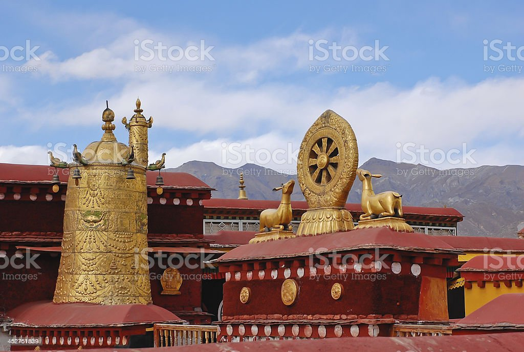 Decoration on roof of Jokhang temple stock photo